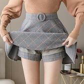 毛呢半身裙 格子女秋冬新款百褶裙高腰顯瘦a字裙短裙蓬蓬半裙 - 古梵希