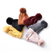 毛帽-毛球刺繡字母純色男女針織帽6色73ug10[巴黎精品]