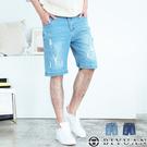【OBIYUAN】牛仔短褲 刷色 刷破 彈性牛仔褲 單寧褲 共2色【X69100】