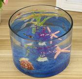 創意水族箱生態圓形玻璃金魚缸 大號烏龜缸 迷你小型造景水培花瓶 七夕特別禮物