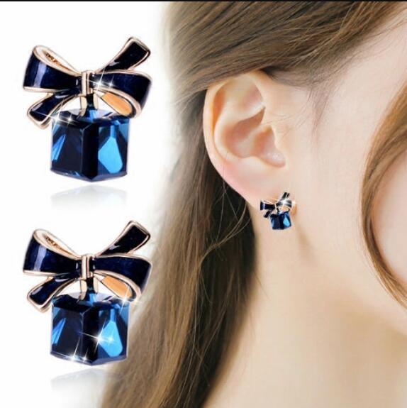 【免運到手價$98】韓國甜美氣質耳環女可愛蝴蝶結小清新耳釘人造水晶耳飾配飾品