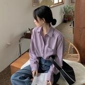雪紡 襯衫女復古港味外穿春秋季裝2020新款紫色設計感百搭雪紡長袖上衣-米蘭街頭