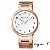 agnes b. 玫瑰金中性大錶面手繪數字鋼帶錶 36mm BH8028X1 VJ21-KJ50K 公司貨   高雄名人鐘錶
