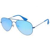 原廠公司貨-【Ray Ban 雷朋】RB3558-9016B7-58 新款超輕雷朋太陽眼鏡(藍框/水銀藍鏡面)