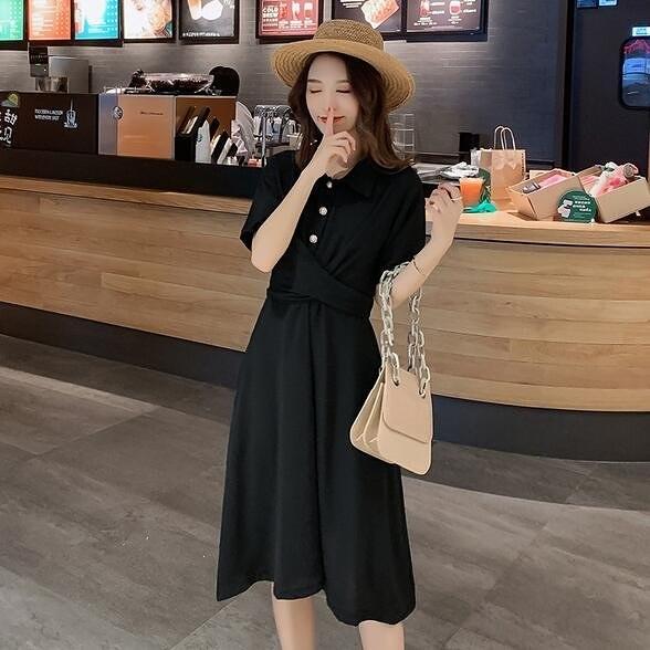 洋裝 連身裙 M-4XL短袖雪紡連身裙胖MM收腰顯瘦氣質洋氣裙4F075.3670 胖胖唯依