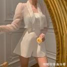 2021春夏新款法式復古女神修身重工釘珠白色抹胸連衣褲套裝女 快速出貨