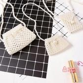 兒童編織包 兒童珍珠包包女孩斜挎百搭手工編織零錢包女童白色小CK珍珠包