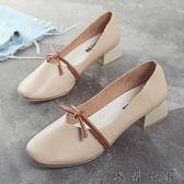 鞋子女鞋淺口中跟單鞋女粗跟奶奶鞋