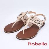 itabella.舒適牛皮幾何夾腳涼鞋(9314-00米色)