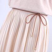 【黑色星期五】連身裙裝飾腰帶女細配裙子腰繩編織腰鍊復古打結蝴蝶結流蘇細皮繩