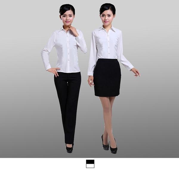 晶輝專業團體制服*CH011*新款白襯衫女長袖職業V領修身工作服正裝大碼襯衣女裝ol通勤