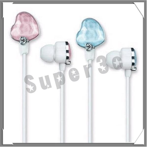 【超人生活百貨O】ECHO 繽紛時尚鑽石耳機(愛心粉紅粉藍版) 可連接手機、隨身聽、MP3、MP4、iPad等