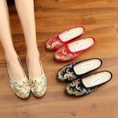 復古中式祥龍刺繡繡花鞋女 半拖鞋民族風老北京布鞋女低跟涼拖鞋夏