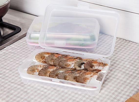(寬形)魚蝦海鮮濾水墊冰箱保鮮收納盒 密封冷藏水果保鮮盒49元