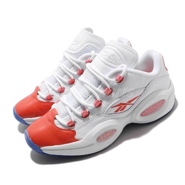 Reebok 籃球鞋 Question Low 白 橘 男鞋 AI 低筒 果洞底 運動鞋 【ACS】 FX4999