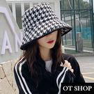 [現貨]帽子 千鳥格漁夫帽 水桶帽 盆帽 遮陽帽 黑白格子 帽圍可調 暗黑街頭穿搭配件 C2126 OT SHOP