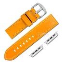 Apple Watch / 38.40.42.44mm / 蘋果手錶替用錶帶 蘋果錶帶 中厚款 真皮錶帶 橘黃色#829-09-YW-S