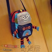 新款韓國男童斜挎包 兒童包包寶寶小挎包 潮機器人幼兒小背包單肩