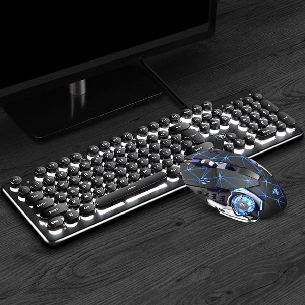 機械手感機器朋克復古鍵盤滑鼠套裝耳機鍵鼠