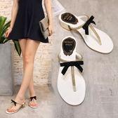 夾腳涼鞋 中跟蝴蝶結涼鞋女夏韓版水鉆夾腳拖鞋T型LJ10157『科炫3C』