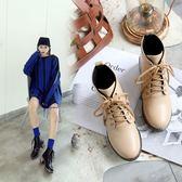 丁果、大尺碼女鞋34-43►英倫風明星系帶中跟馬丁靴短靴*3色