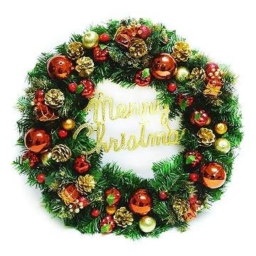 【南紡購物中心】【聖誕限定】20吋豪華高級聖誕花圈(紅金色系)(台灣手工組裝出貨)