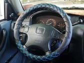 韓式風格藍色格紋樣式汽車方向盤套保護套天然素材 無臭味 UP 舒適好握柔軟視覺系
