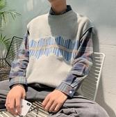 熱銷針織馬甲無袖毛衣背心針織馬甲男潮秋季寬鬆韓版學院毛線外搭ins港風坎肩