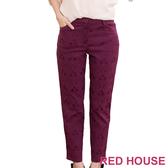【RED HOUSE-蕾赫斯】滿版花紋九分褲(紫色)