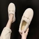 加絨女毛毛鞋秋冬季潮鞋新款外穿懶人一腳蹬孕婦奶奶鞋 - 古梵希