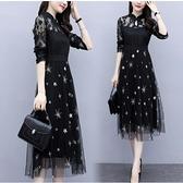 洋裝長袖拼接裙子中大尺碼L-5XL新款大碼復古連裙寬鬆顯瘦減齡拼接網紗裙R025B-7122.胖胖美