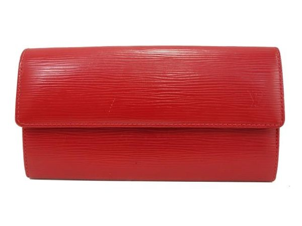 【特價31%OFF】LV LOUIS VUITTON 路易威登 紅色EPI水波紋長夾 Sarah M60316 【BRAND OFF】