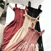 春季內搭連衣裙新款氣質百搭木耳邊壓褶顯瘦抹胸吊帶中長款雪紡裙
