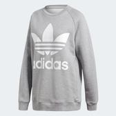 Adidas Originals Oversized 女裝 長袖 大學T 休閒 三葉草 大LOGO 灰【運動世界】DH3125