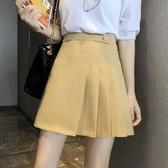 不規則百褶裙女新款韓版高腰顯瘦半身裙百搭A字裙子短裙
