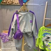 男女童韓版時尚洋氣休閒兩件套裝2021年秋季新款中大男童洋氣套裝 幸福第一站