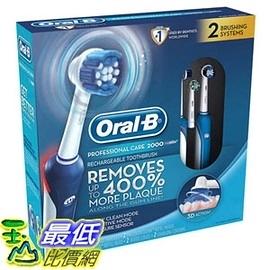 [美國直購] (促銷到4月29日)Oral-B Pro Care 2000 3D電動牙刷 (2入組含充電座旅行收納殼) Dual Handle