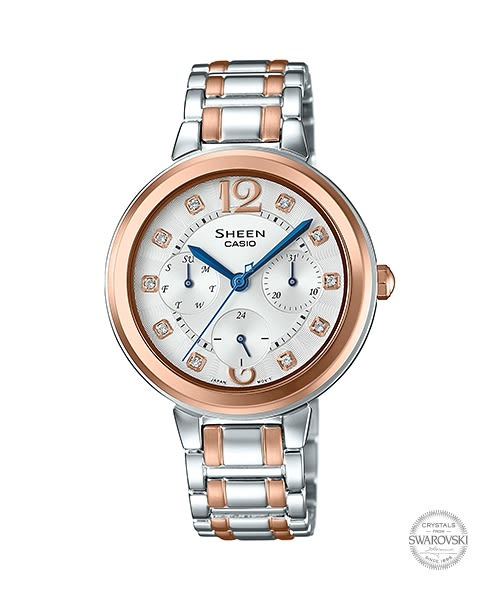 【時間道】[CASIO。SHEEN]三眼顯示施華洛世奇鑽刻時尚女錶-白面玫瑰金框鋼(SHE-3048BSG-7)免運費