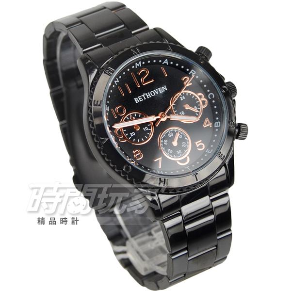 BETHOVEN 日本機芯 都會仿三眼造型時刻男錶 IP黑電鍍x玫瑰金 女錶 BE2028玫黑