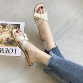 平底一字拖鞋女夏外穿韓版度假露趾涼鞋【小酒窩服飾】
