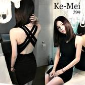 克妹Ke-Mei【AT64928】太犯規嚜~性感交叉摟空美背萊卡連身洋裝
