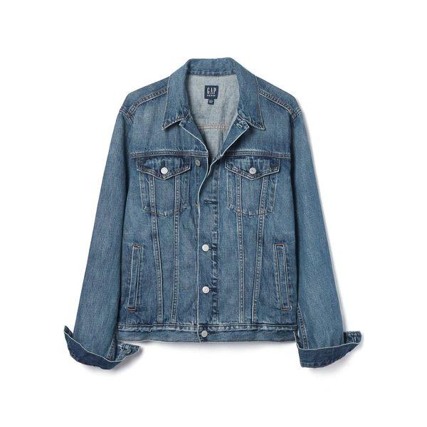 Gap男裝 純棉長袖水洗牛仔夾克 男士潮流修身外套上衣 398332-淺靛藍