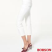 BOBSON 女款中腰刺繡白色七分褲 (228-80)
