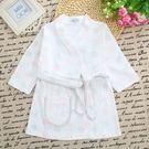 一件免運-0-1-2-3歲新生嬰幼兒童棉質長袖系帶中長版浴袍寶寶睡袍浴衣睡衣