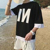 夏季港風印花假兩件短袖t恤男加大碼五分袖上衣半袖潮男裝七分袖   芊惠衣屋