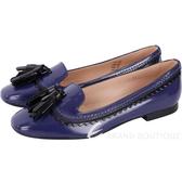 TOD'S 漆亮皮流蘇飾豆豆樂福鞋(女鞋/靛藍色) 1740459-80