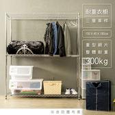 【dayneeds】荷重型150x45x180三層電鍍單桿深藍布套衣櫥