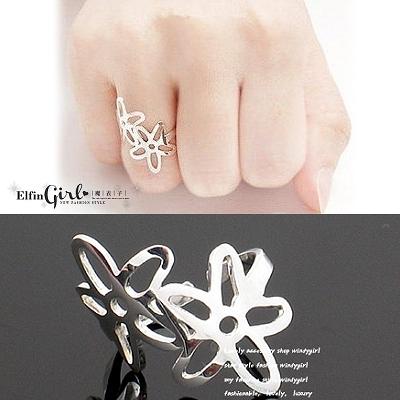【Q21A40】魔衣子-鏤空雙風信子花造型戒指