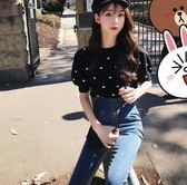 大韓訂製中袖短款上衣韓國超火刺繡波點泡泡袖針織毛衣