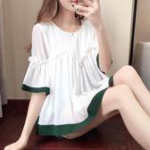 2018夏季新款韓版喇叭袖雪紡衫短袖寬鬆顯瘦荷葉邊蓬蓬上衣娃娃衫 全館88折限購